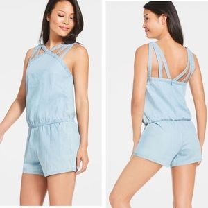 Fabletics Liza Romper - Light Wash Denim Chambray